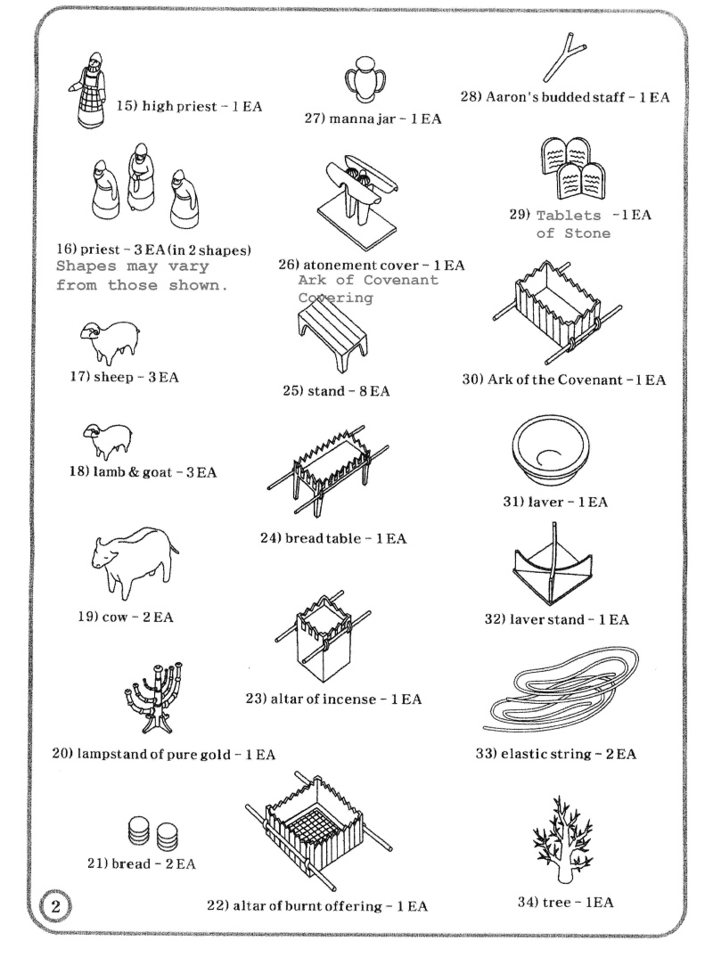 Tabernacle Kit parts list, page 2