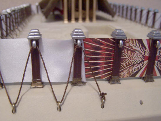 Close-up photo showing the tie off of the end of the tabernacle kit rope.