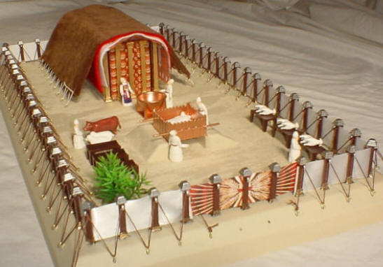 Photo showing the tabernacle kit courtyard with priests, sacrificial animals, laver and altar.